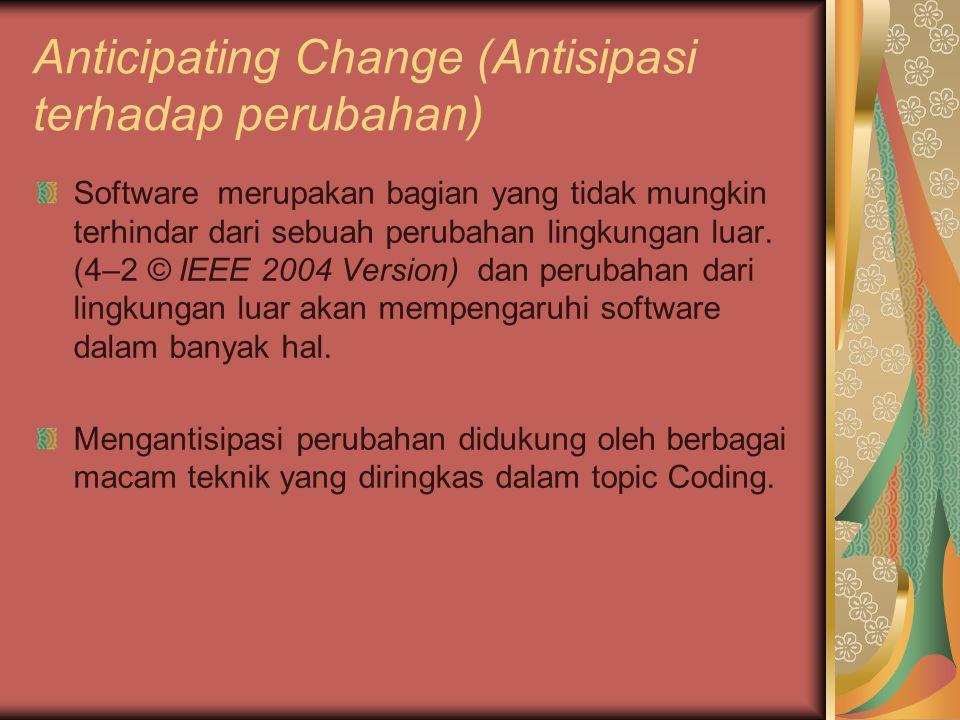 Anticipating Change (Antisipasi terhadap perubahan) Software merupakan bagian yang tidak mungkin terhindar dari sebuah perubahan lingkungan luar. (4–2