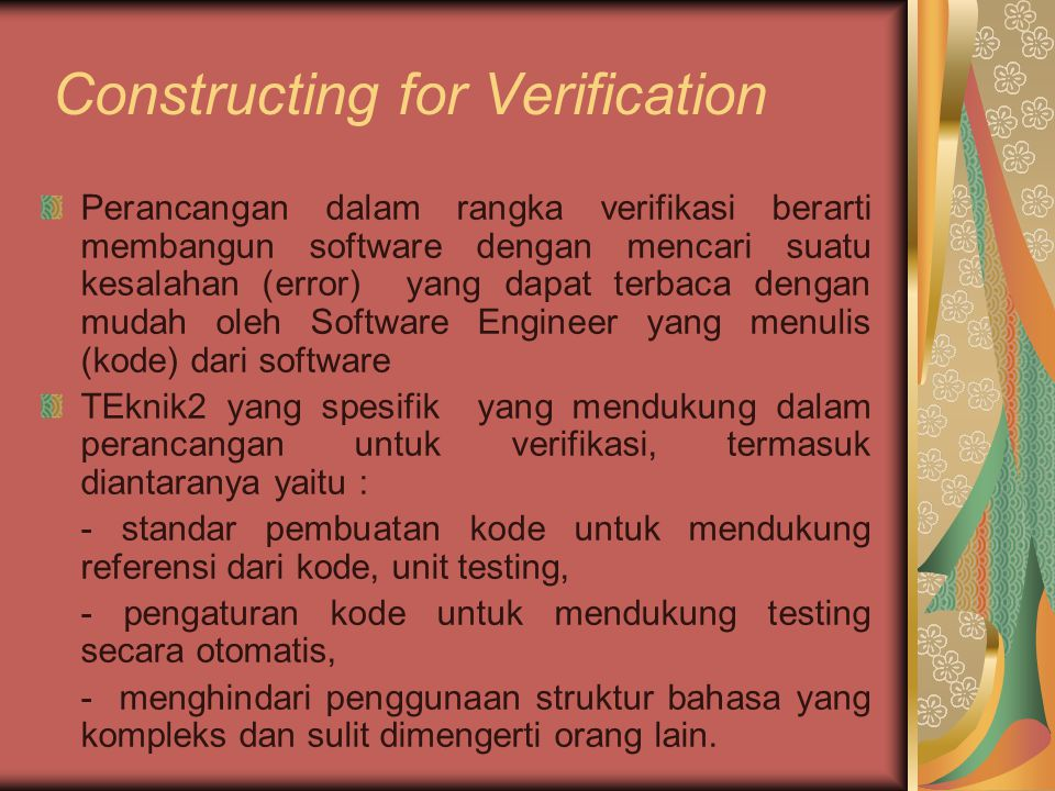 12 – Analysis Modelling 13 – Design Concept and Principles 14 – Design Methods 15 – Design for Real Time Systems 16 – Software Testing Methods 17 – Software Testing Strategies 18 – Technical Metrics for Software 19 – Object Oriented Concept and Principles