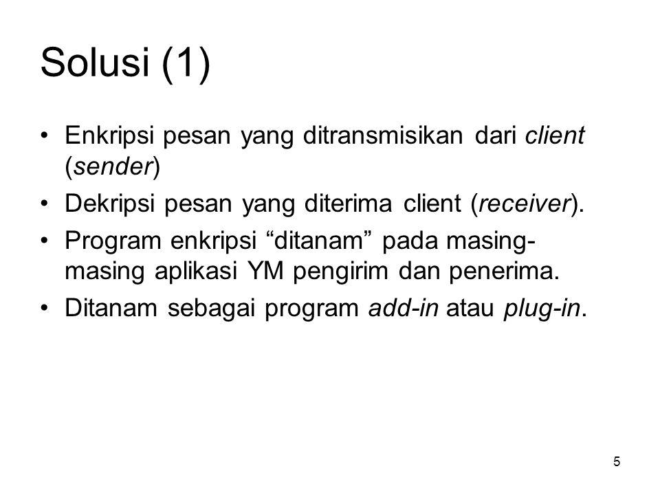 """5 Solusi (1) Enkripsi pesan yang ditransmisikan dari client (sender) Dekripsi pesan yang diterima client (receiver). Program enkripsi """"ditanam"""" pada m"""