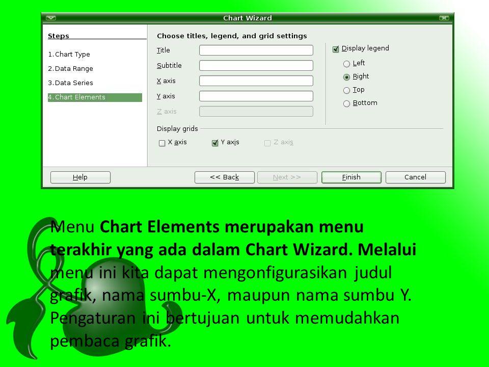 Menu Chart Elements merupakan menu terakhir yang ada dalam Chart Wizard. Melalui menu ini kita dapat mengonfigurasikan judul grafik, nama sumbu-X, mau