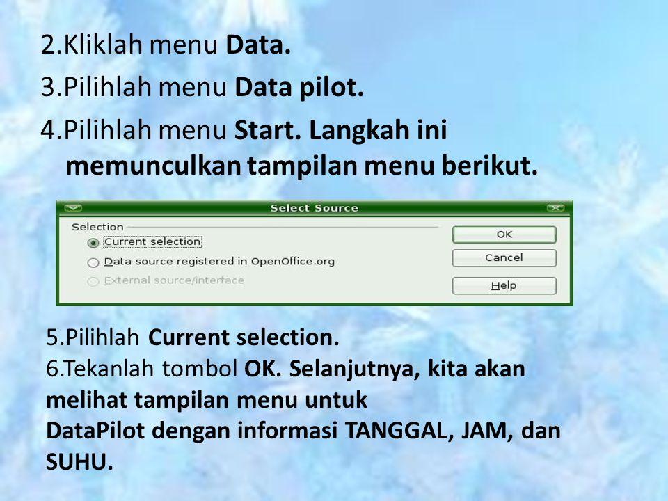 2.Kliklah menu Data. 3.Pilihlah menu Data pilot. 4.Pilihlah menu Start. Langkah ini memunculkan tampilan menu berikut. 5.Pilihlah Current selection. 6