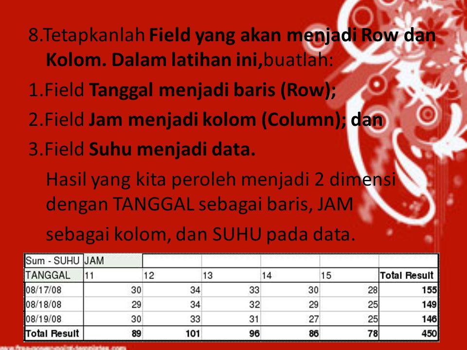 8.Tetapkanlah Field yang akan menjadi Row dan Kolom. Dalam latihan ini,buatlah: 1.Field Tanggal menjadi baris (Row); 2.Field Jam menjadi kolom (Column