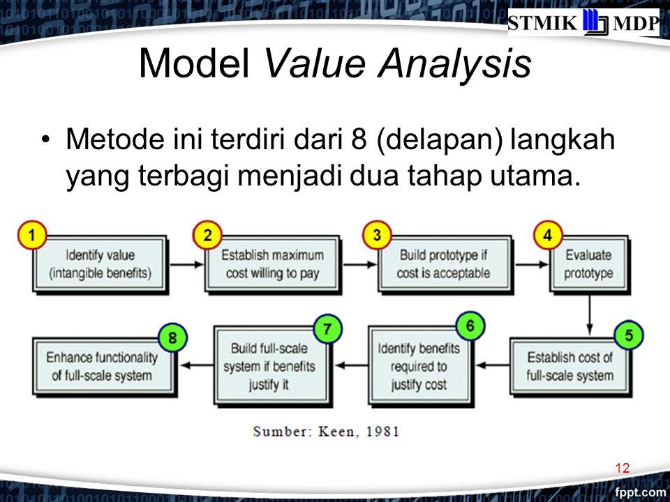Model Value Analysis Metode ini terdiri dari 8 (delapan) langkah yang terbagi menjadi dua tahap utama. 12