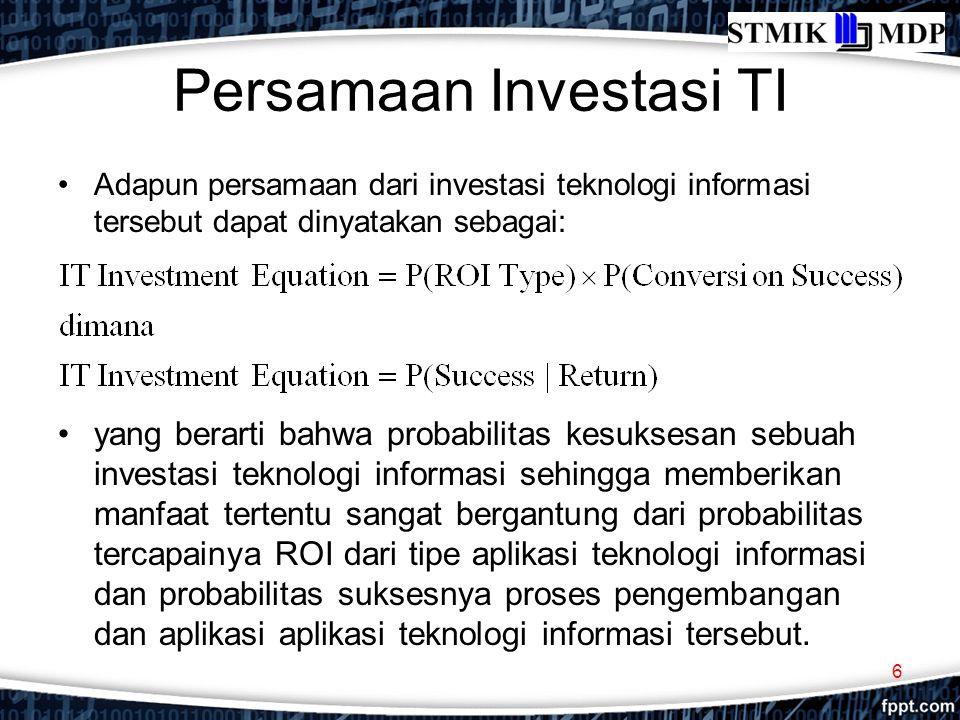 Persamaan Investasi TI Untuk mencari angka kedua probabilitas di atas, manajemen biasanya melakukan riset kecil dengan cara mengumpulkan informasi atau referensi terkait dengan ukuran tersebut.