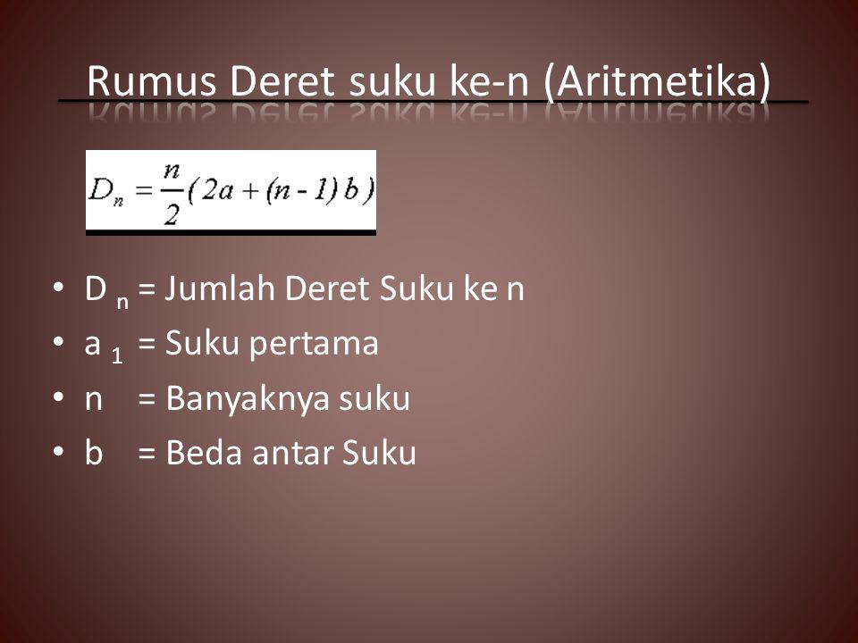 D n = Jumlah Deret Suku ke n a 1 = Suku pertama n= Banyaknya suku b= Beda antar Suku