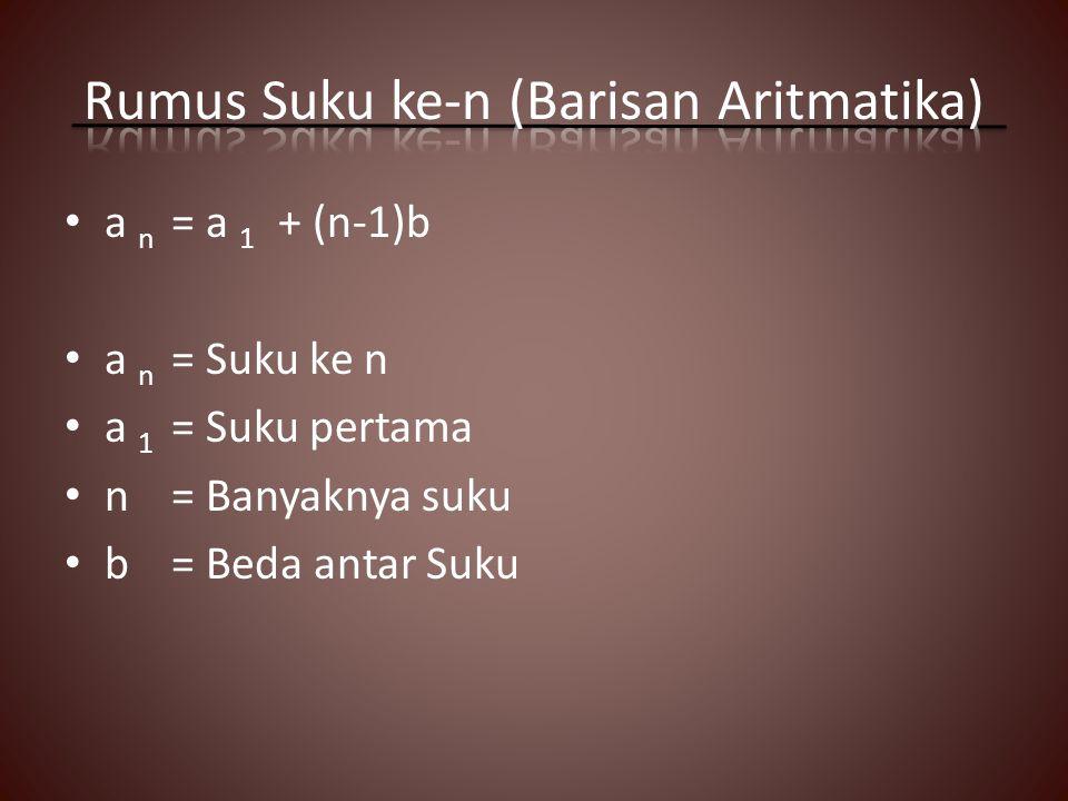 a n = a 1 + (n-1)b a n = Suku ke n a 1 = Suku pertama n= Banyaknya suku b= Beda antar Suku