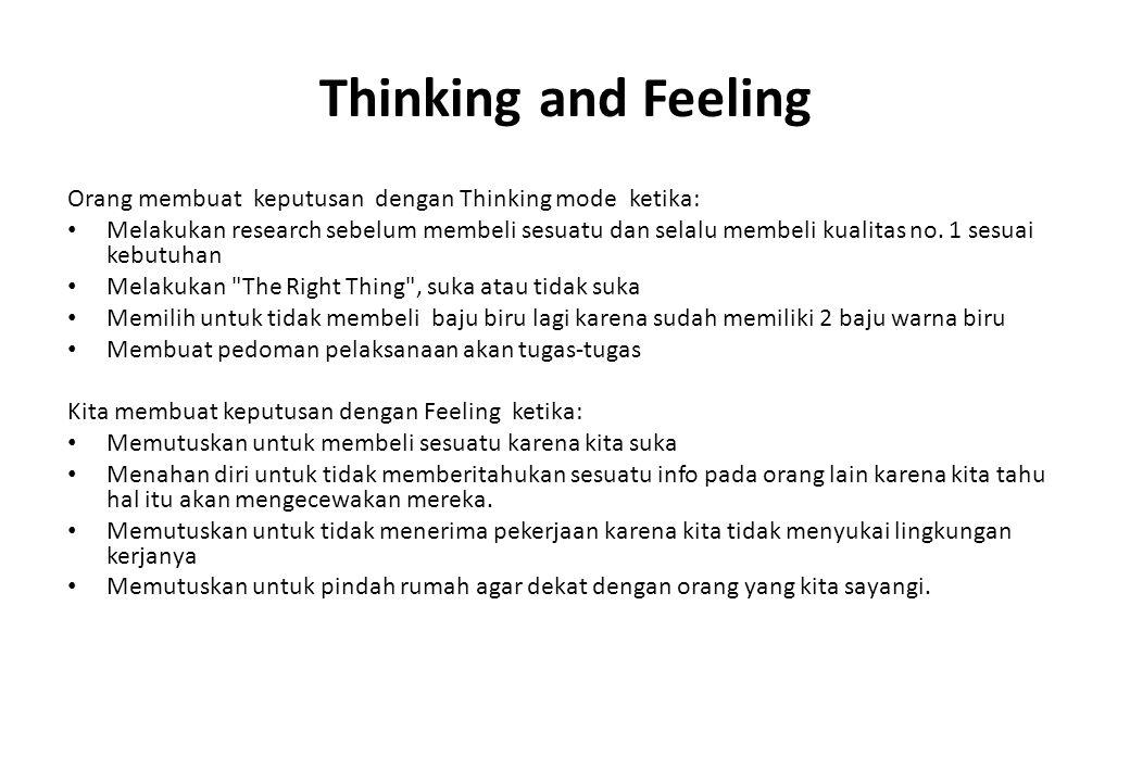 Thinking and Feeling Orang membuat keputusan dengan Thinking mode ketika: Melakukan research sebelum membeli sesuatu dan selalu membeli kualitas no.