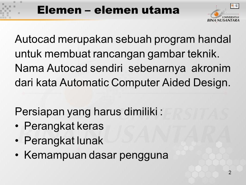 3 Elemen – elemen utama Perangkat keras Untuk menginstalasi program, Autocad 2000 / 2004 memerlukan spesifikasi komputer sebagai berikut : –Processor : Pentium (r) III atau dianjurkan Pentium (r) IV –Ram : 128 MB (minimum) dianjurkan 256 MB –Video : Resolusi 1024 x 768 true color (minimum) –Hardisk : 300 MB (minimum free space) –CD Rom –Pointing device : mouse, track ball dsb