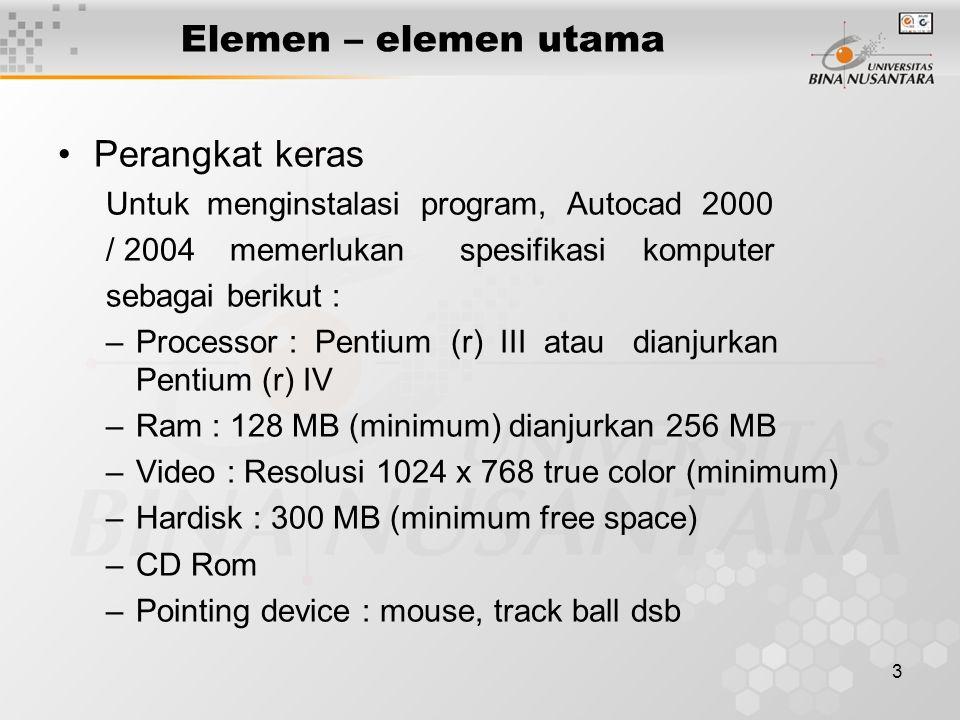 3 Elemen – elemen utama Perangkat keras Untuk menginstalasi program, Autocad 2000 / 2004 memerlukan spesifikasi komputer sebagai berikut : –Processor