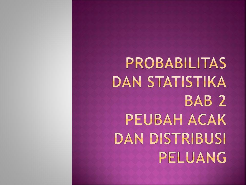  Peubah Acak  Distribusi Peluang Diskret  Distribusi Peluang Kontinyu  Distribusi Empiris  Distribusi Peluang Gabungan  Bebas Statistik