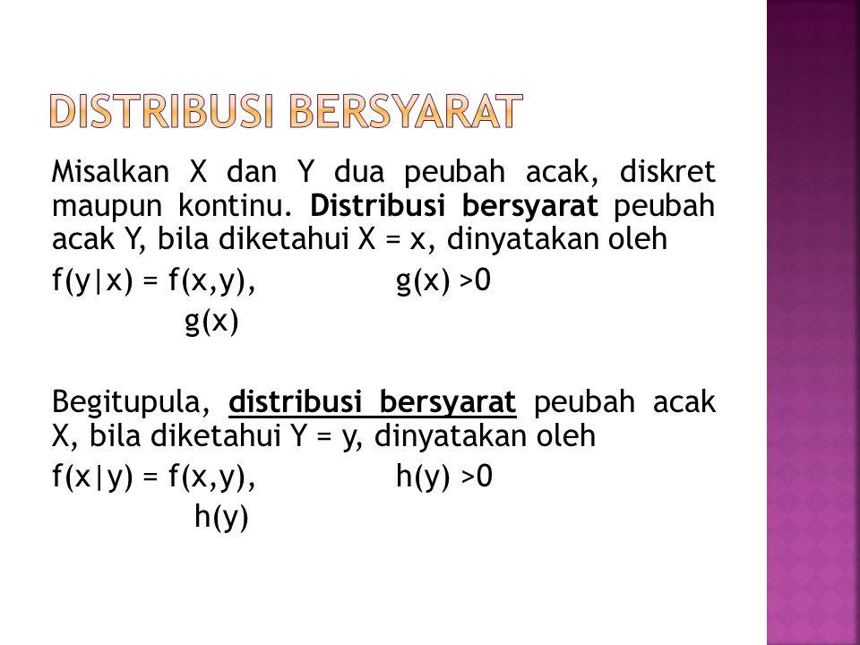 Misalkan X dan Y dua peubah acak, diskret maupun kontinu. Distribusi bersyarat peubah acak Y, bila diketahui X = x, dinyatakan oleh f(y|x) = f(x,y), g