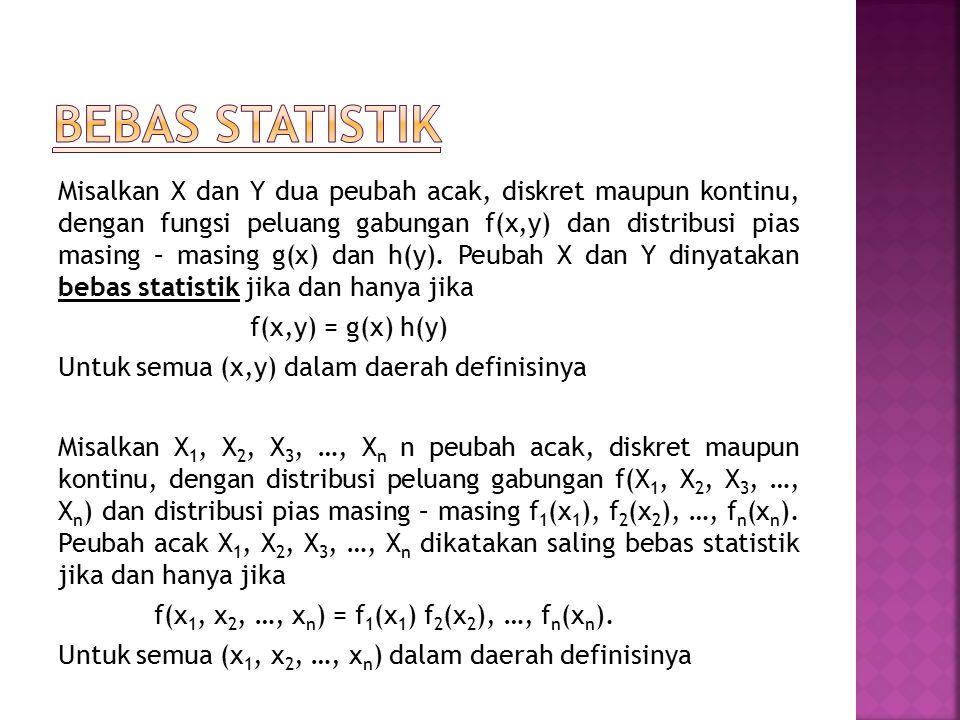 Misalkan X dan Y dua peubah acak, diskret maupun kontinu, dengan fungsi peluang gabungan f(x,y) dan distribusi pias masing – masing g(x) dan h(y). Peu
