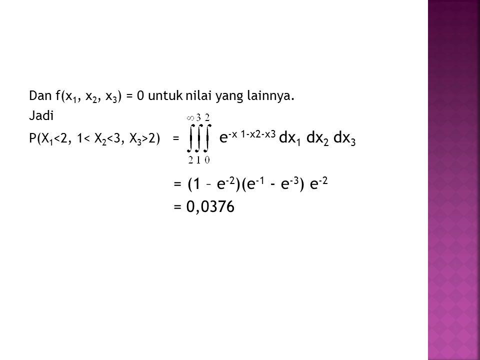 Dan f(x 1, x 2, x 3 ) = 0 untuk nilai yang lainnya. Jadi P(X 1 2) = e -x 1-x2-x3 dx 1 dx 2 dx 3 = (1 – e -2 )(e -1 - e -3 ) e -2 = 0,0376