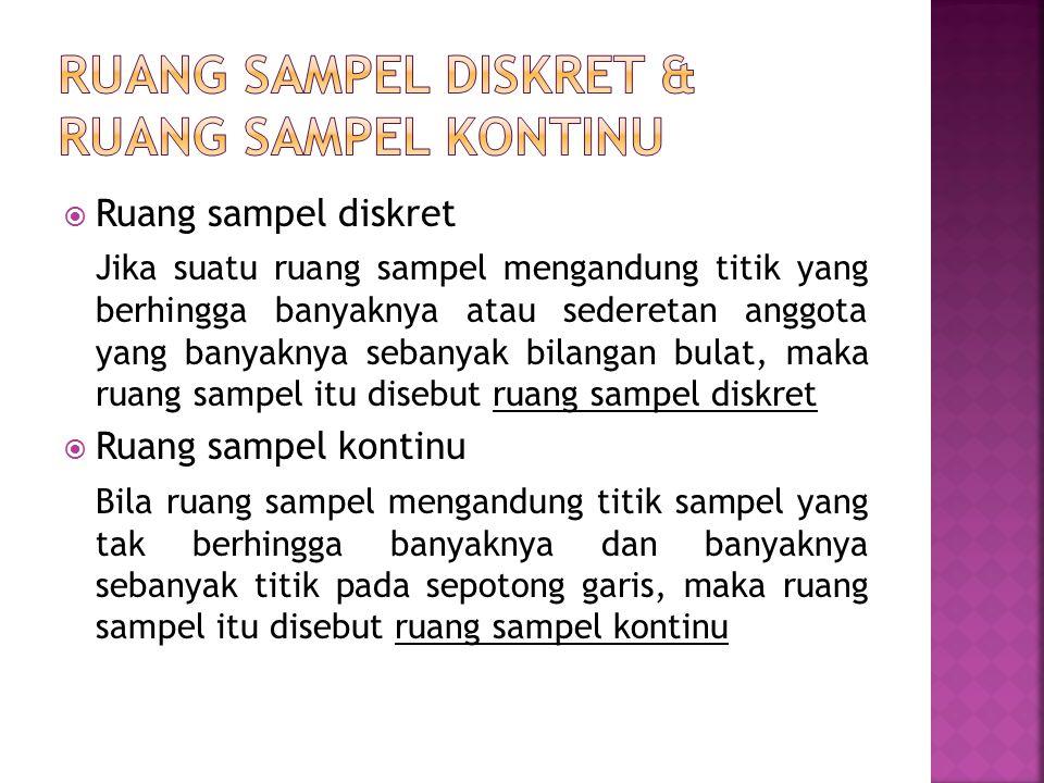  Ruang sampel diskret Jika suatu ruang sampel mengandung titik yang berhingga banyaknya atau sederetan anggota yang banyaknya sebanyak bilangan bulat, maka ruang sampel itu disebut ruang sampel diskret  Ruang sampel kontinu Bila ruang sampel mengandung titik sampel yang tak berhingga banyaknya dan banyaknya sebanyak titik pada sepotong garis, maka ruang sampel itu disebut ruang sampel kontinu