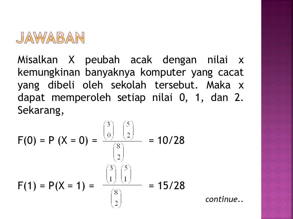 f(1) = P(X = 2) = = 2/28 Jadi distribusi peluang X x012 f(x) 10/28 15/28 3/28
