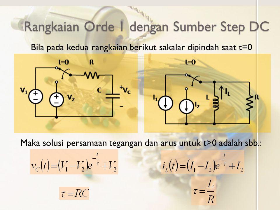 Rangkaian Orde 1 dengan Sumber Step DC Bila pada kedua rangkaian berikut sakalar dipindah saat t=0 Maka solusi persamaan tegangan dan arus untuk t>0 a