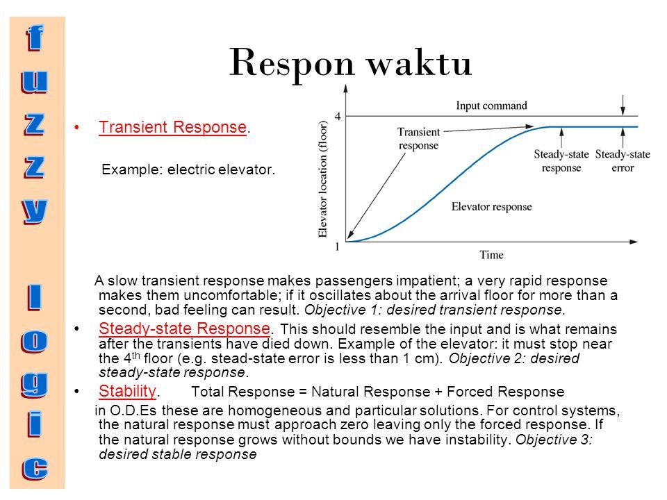 Respon waktu Transient Response. Example: electric elevator. A slow transient response makes passengers impatient; a very rapid response makes them un
