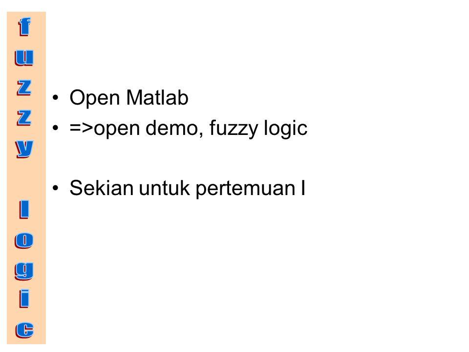 Open Matlab =>open demo, fuzzy logic Sekian untuk pertemuan I