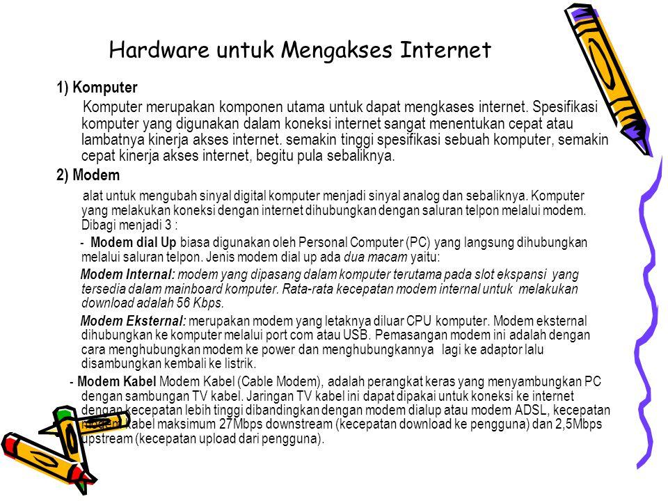 Hardware untuk Mengakses Internet 1) Komputer Komputer merupakan komponen utama untuk dapat mengkases internet. Spesifikasi komputer yang digunakan da