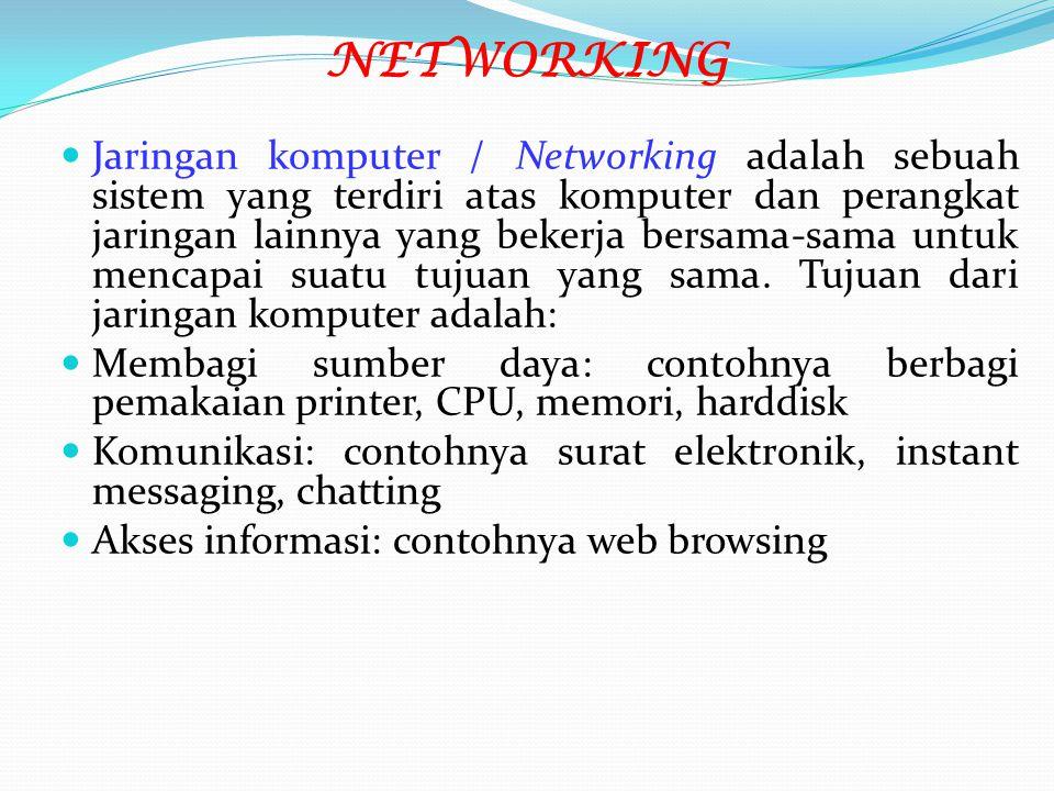 NETWORKING Jaringan komputer / Networking adalah sebuah sistem yang terdiri atas komputer dan perangkat jaringan lainnya yang bekerja bersama-sama unt
