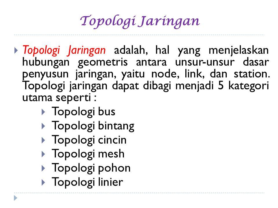 Topologi Jaringan  Topologi Jaringan adalah, hal yang menjelaskan hubungan geometris antara unsur-unsur dasar penyusun jaringan, yaitu node, link, da