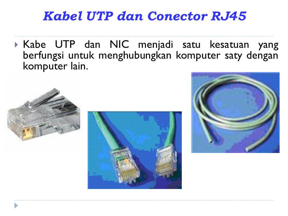 Kabel UTP dan Conector RJ45  Kabe UTP dan NIC menjadi satu kesatuan yang berfungsi untuk menghubungkan komputer saty dengan komputer lain.