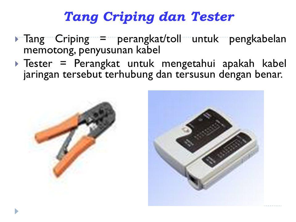Tang Criping dan Tester  Tang Criping = perangkat/toll untuk pengkabelan memotong, penyusunan kabel  Tester = Perangkat untuk mengetahui apakah kabe