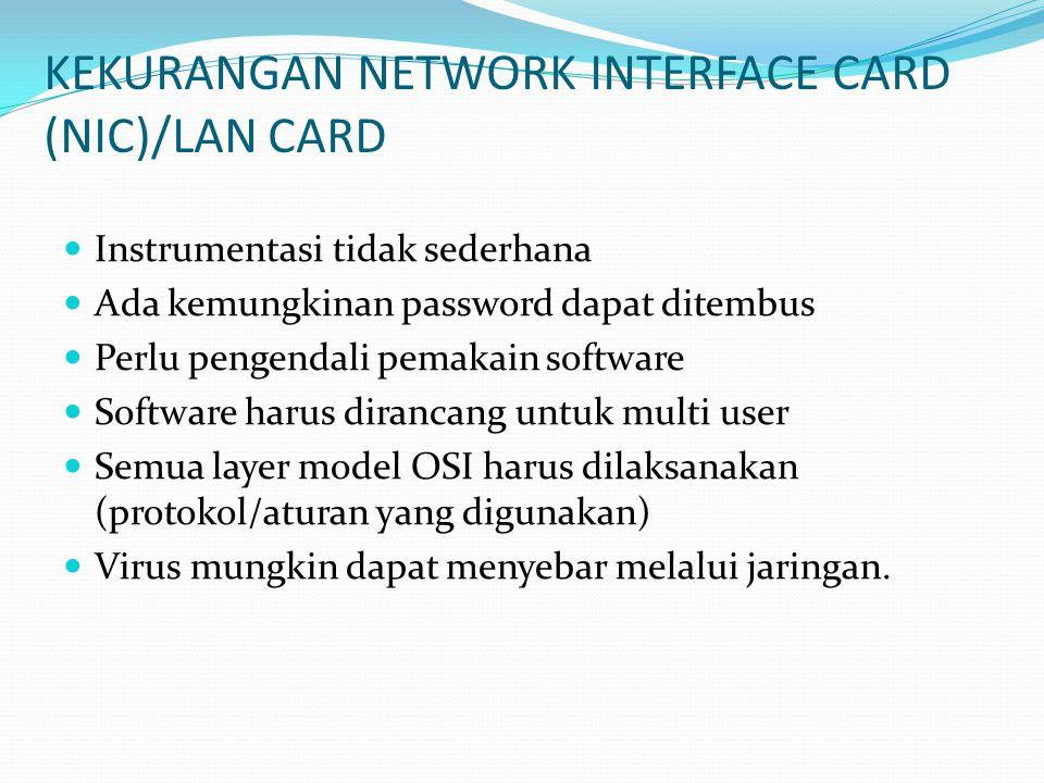 RINGKASAN Pengertian Network Interface Card (NIC), Network interface card adalah kartu — maksudnya papan elektronik — yang ditanam pada setiap komputer yang terhubung ke jaringan.