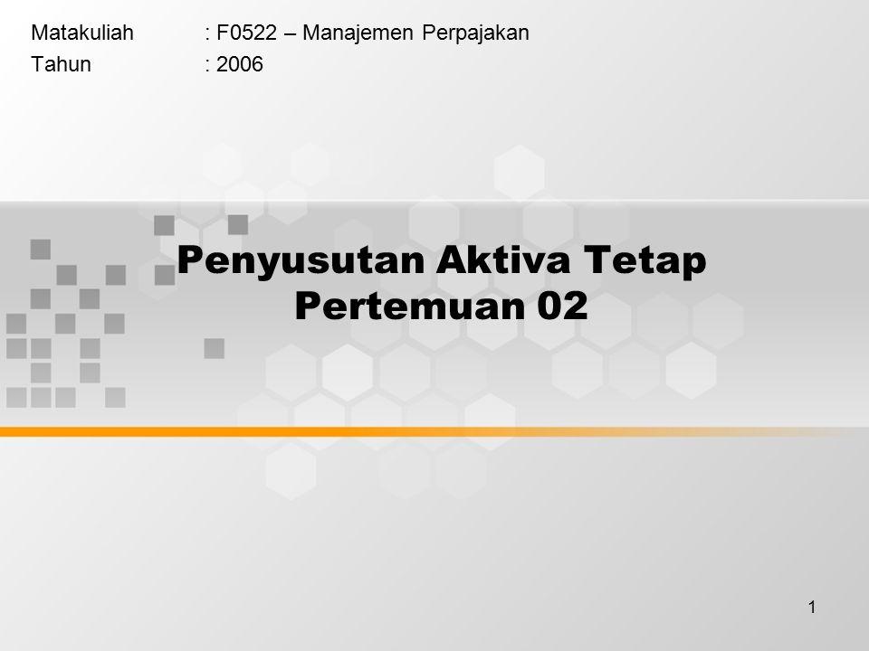 1 Penyusutan Aktiva Tetap Pertemuan 02 Matakuliah: F0522 – Manajemen Perpajakan Tahun: 2006