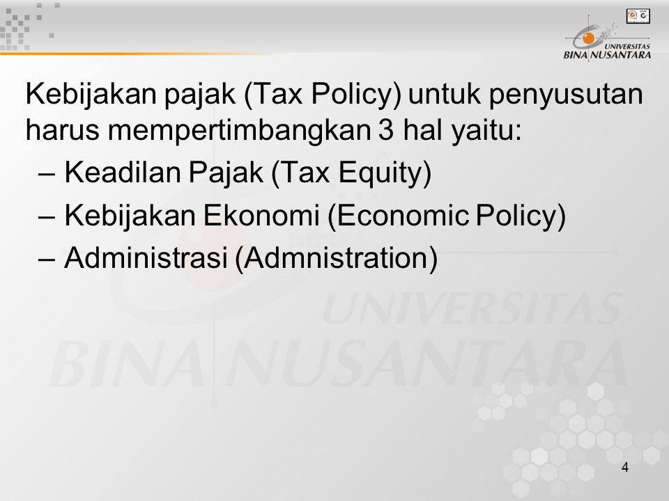 4 Kebijakan pajak (Tax Policy) untuk penyusutan harus mempertimbangkan 3 hal yaitu: –Keadilan Pajak (Tax Equity) –Kebijakan Ekonomi (Economic Policy)