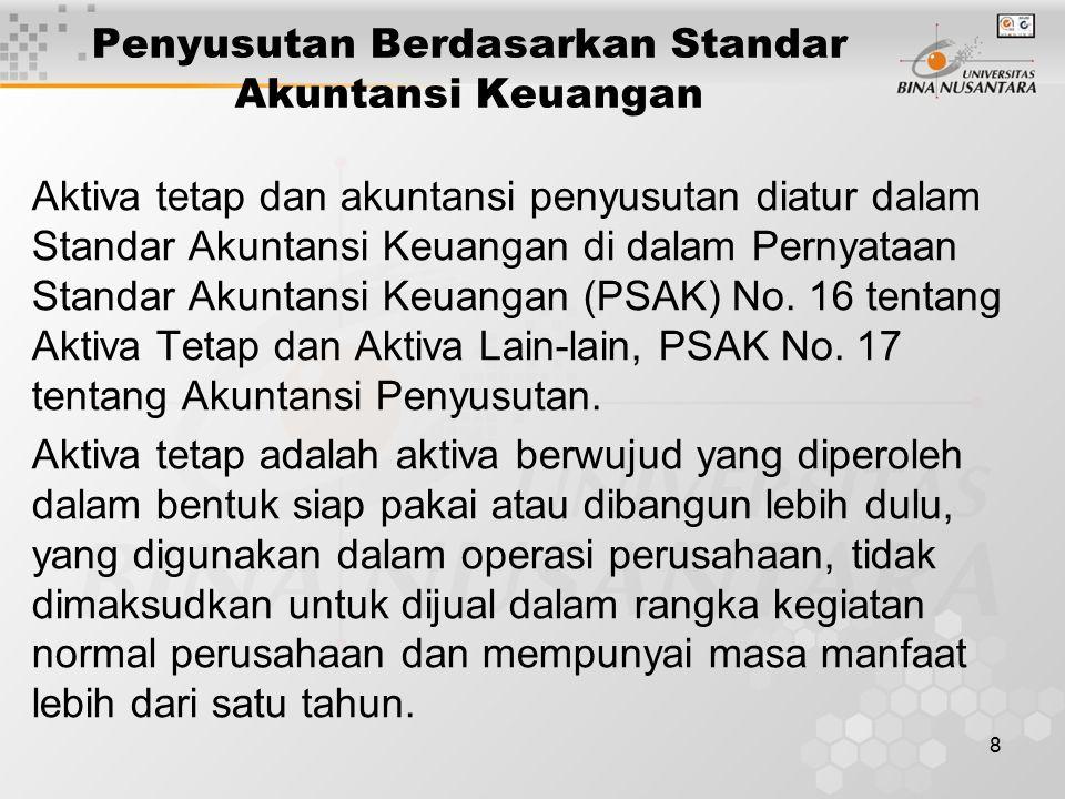 8 Penyusutan Berdasarkan Standar Akuntansi Keuangan Aktiva tetap dan akuntansi penyusutan diatur dalam Standar Akuntansi Keuangan di dalam Pernyataan