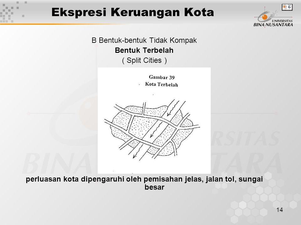 14 Ekspresi Keruangan Kota B Bentuk-bentuk Tidak Kompak Bentuk Terbelah ( Split Cities ) perluasan kota dipengaruhi oleh pemisahan jelas, jalan tol, s