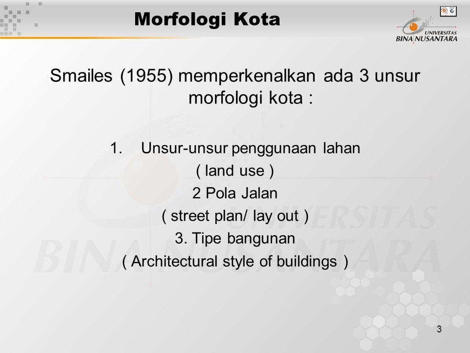 3 Morfologi Kota Smailes (1955) memperkenalkan ada 3 unsur morfologi kota : 1.Unsur-unsur penggunaan lahan ( land use ) 2 Pola Jalan ( street plan/ la