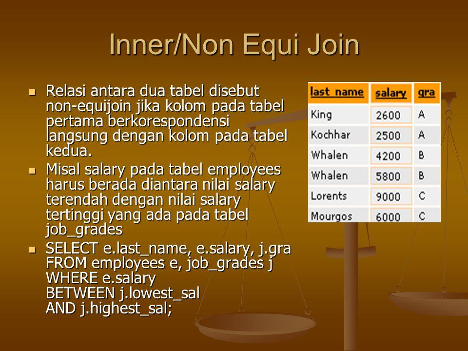 Inner/Non Equi Join Relasi antara dua tabel disebut non-equijoin jika kolom pada tabel pertama berkorespondensi langsung dengan kolom pada tabel kedua