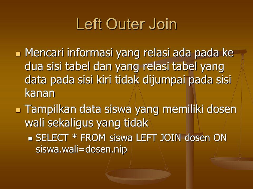 Left Outer Join Mencari informasi yang relasi ada pada ke dua sisi tabel dan yang relasi tabel yang data pada sisi kiri tidak dijumpai pada sisi kanan