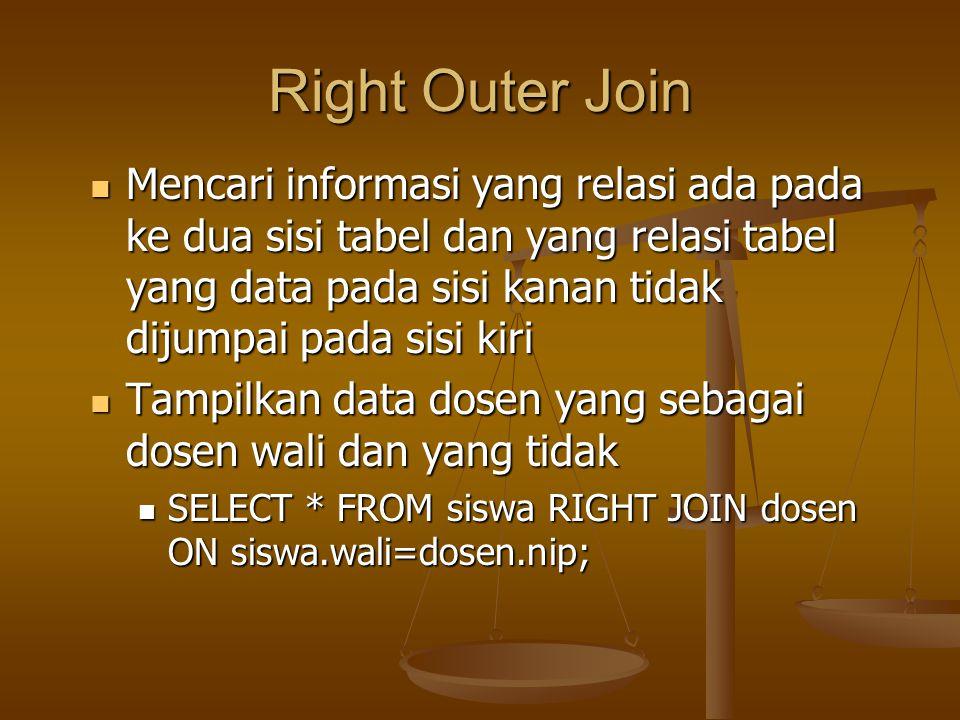 Right Outer Join Mencari informasi yang relasi ada pada ke dua sisi tabel dan yang relasi tabel yang data pada sisi kanan tidak dijumpai pada sisi kir