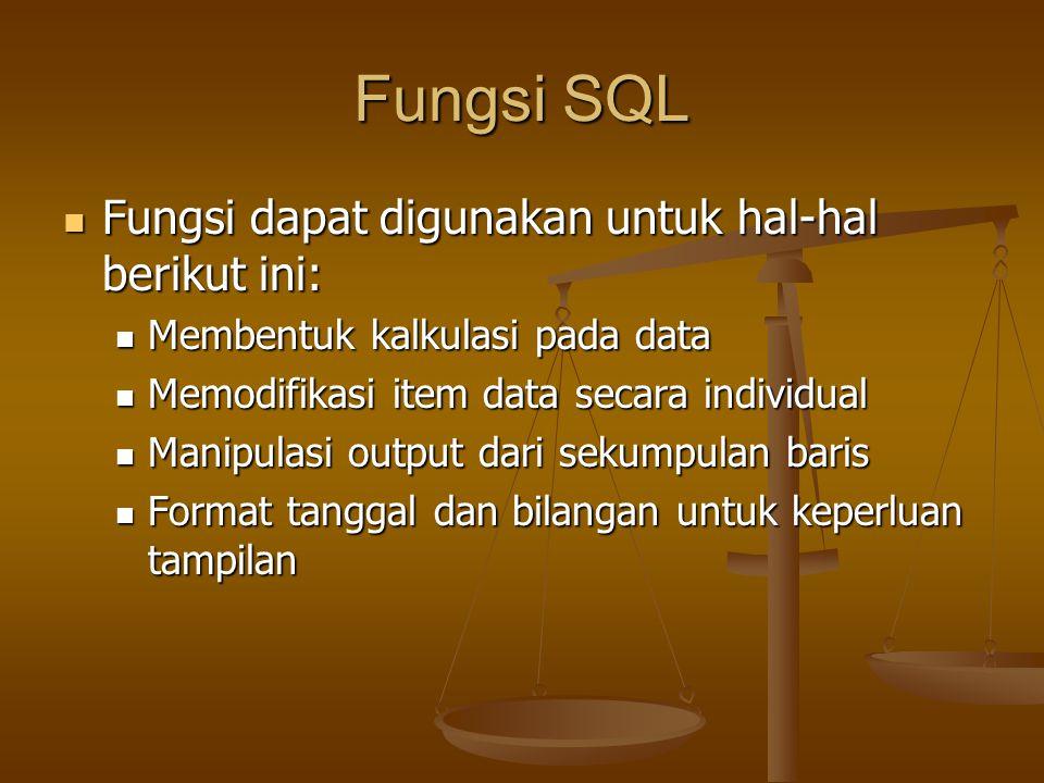 Fungsi SQL Fungsi dapat digunakan untuk hal-hal berikut ini: Fungsi dapat digunakan untuk hal-hal berikut ini: Membentuk kalkulasi pada data Membentuk