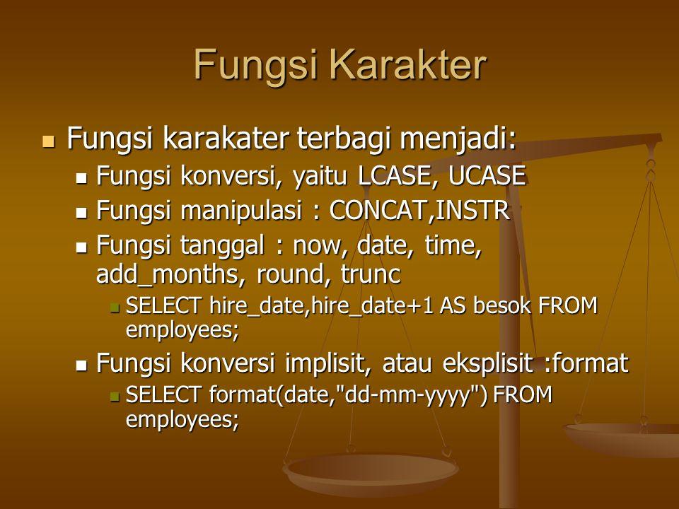 Fungsi Karakter Fungsi karakater terbagi menjadi: Fungsi karakater terbagi menjadi: Fungsi konversi, yaitu LCASE, UCASE Fungsi konversi, yaitu LCASE,