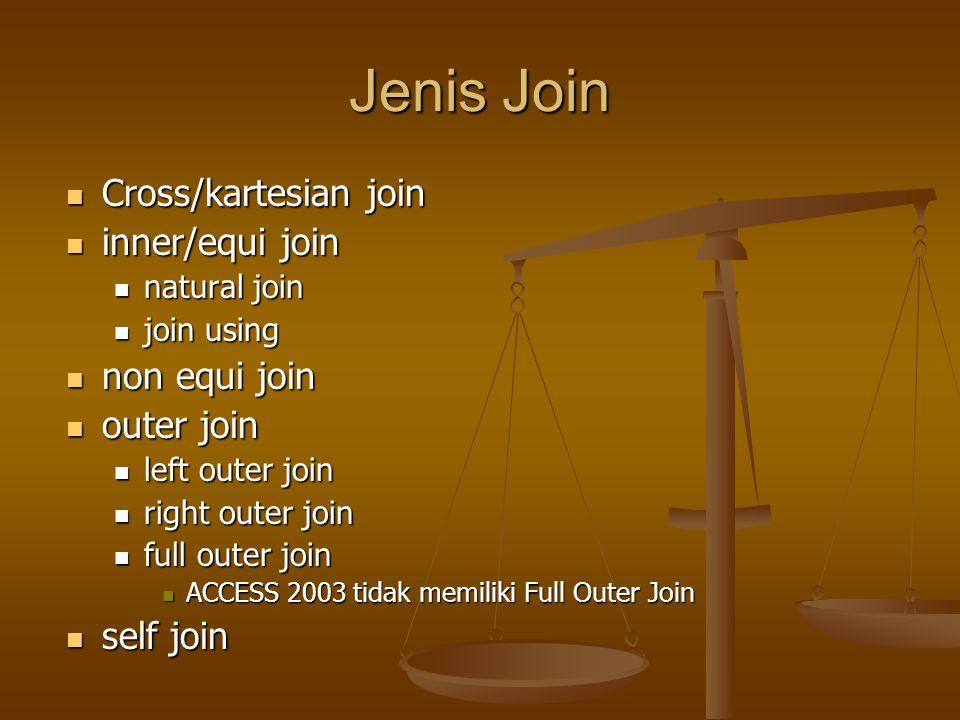 Jenis Join Cross/kartesian join Cross/kartesian join inner/equi join inner/equi join natural join natural join join using join using non equi join non