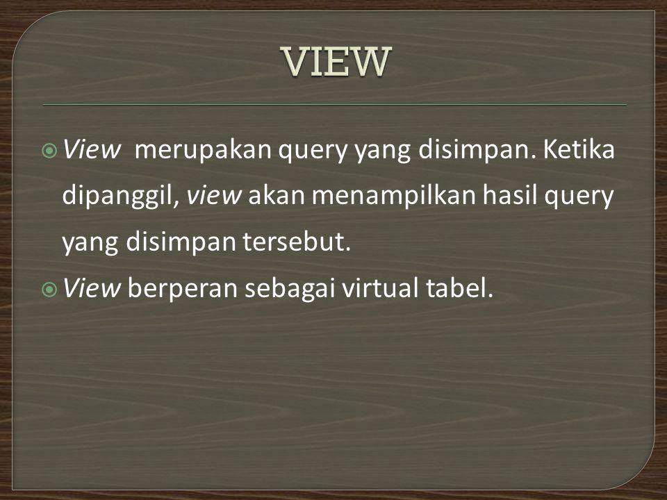  View merupakan query yang disimpan.