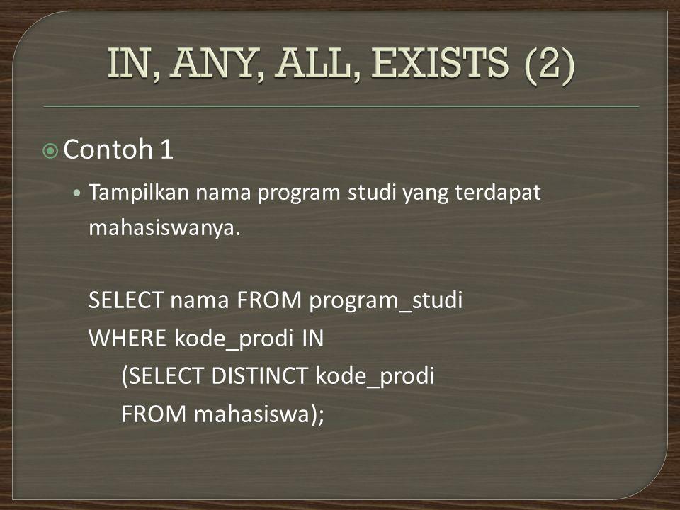  Contoh 1 lagi Tampilkan nama program studi yang tidak punya mahasiswa.