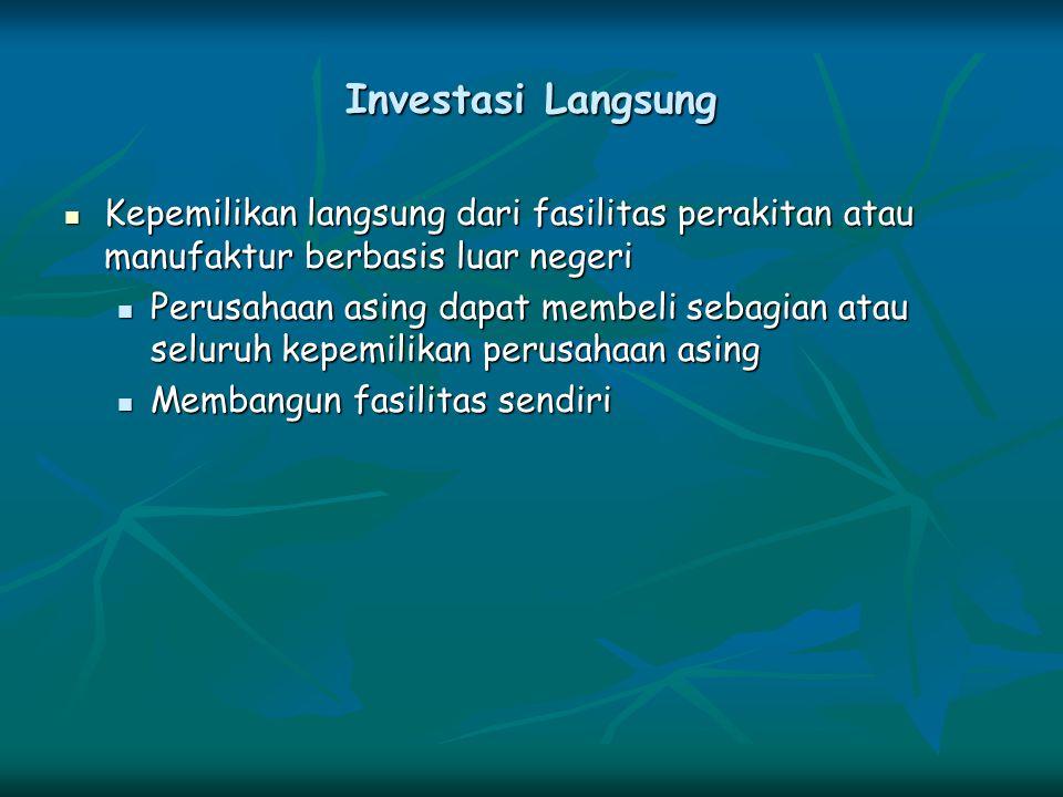 Investasi Langsung Kepemilikan langsung dari fasilitas perakitan atau manufaktur berbasis luar negeri Kepemilikan langsung dari fasilitas perakitan at