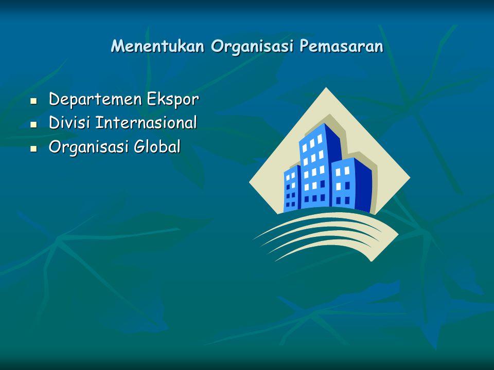 Menentukan Organisasi Pemasaran Departemen Ekspor Departemen Ekspor Divisi Internasional Divisi Internasional Organisasi Global Organisasi Global