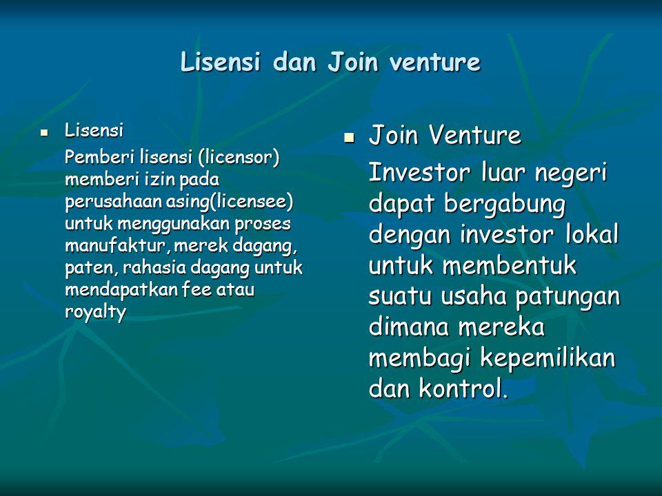 Lisensi dan Join venture Lisensi Lisensi Pemberi lisensi (licensor) memberi izin pada perusahaan asing(licensee) untuk menggunakan proses manufaktur,