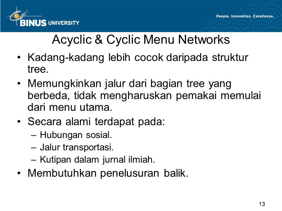 Acyclic & Cyclic Menu Networks Kadang-kadang lebih cocok daripada struktur tree. Memungkinkan jalur dari bagian tree yang berbeda, tidak mengharuskan
