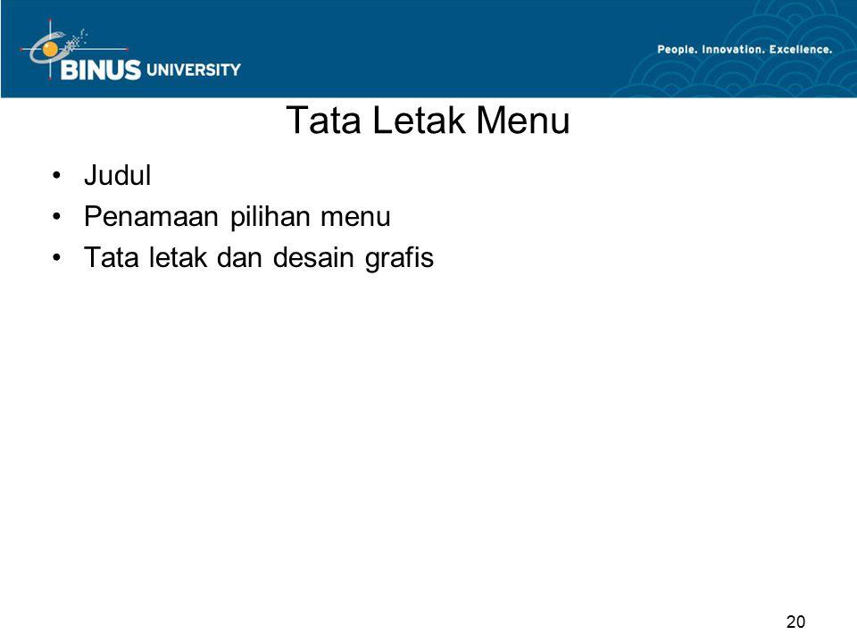 Tata Letak Menu Judul Penamaan pilihan menu Tata letak dan desain grafis 20