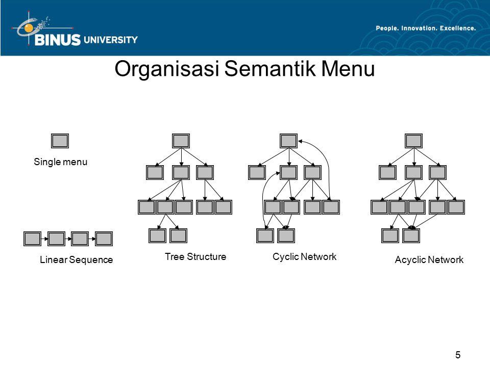 Single Menu Binary menus Multiple selection menus Multiple-item menus / radio buttons 6