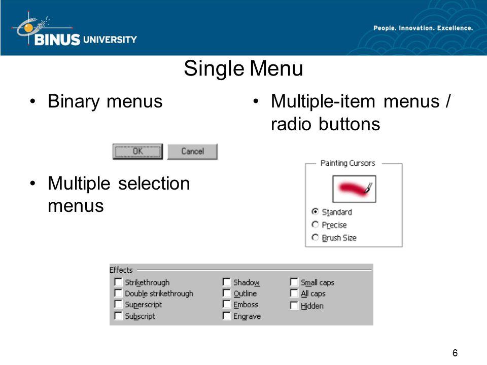 Single Menu (Lanj.) Pull-down and pop-up menus 7