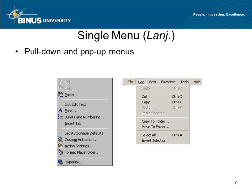 Nama Menu atau Bookmarks Penamaan sederhana memudahkan pemakai mengakses menu secara langsung.