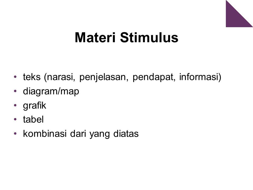 Materi Stimulus teks (narasi, penjelasan, pendapat, informasi) diagram/map grafik tabel kombinasi dari yang diatas
